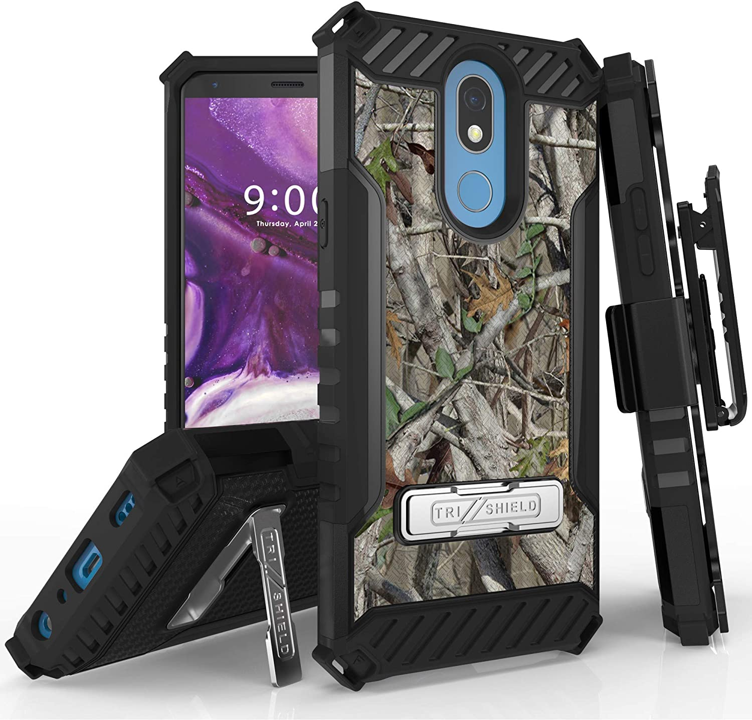 for LG K40/LG K12 Plus/LG X4 2019/LG Solo, Belt Clip Holster Metal Kickstand Dual Layer Hybrid Shock Absorbing Resist Drop Protector Armor Cover Phone Case (Camo)