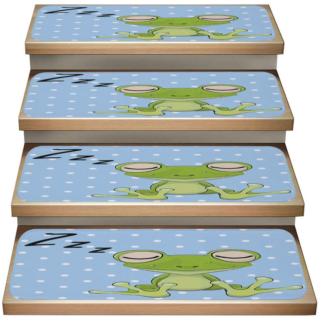 Cartoon 7-Pack Non-Slip Stair Skid Mats,Cartoon Sleeping Prince Frog in A Cap Polka Dots Background Cute Animal World Kids Green Blue,Soft Stair Mat Rotection Kids, Elders, and Dogs Safety
