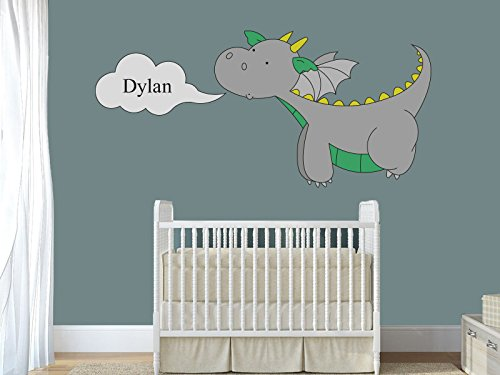 Custom Name Dinosaur - Animal Series - Baby Boy - Nursery Wall Decal for Baby Room Decorations - Mural Wall Decal Sticker for Home Children's Bedroom (J106) (Wide 24
