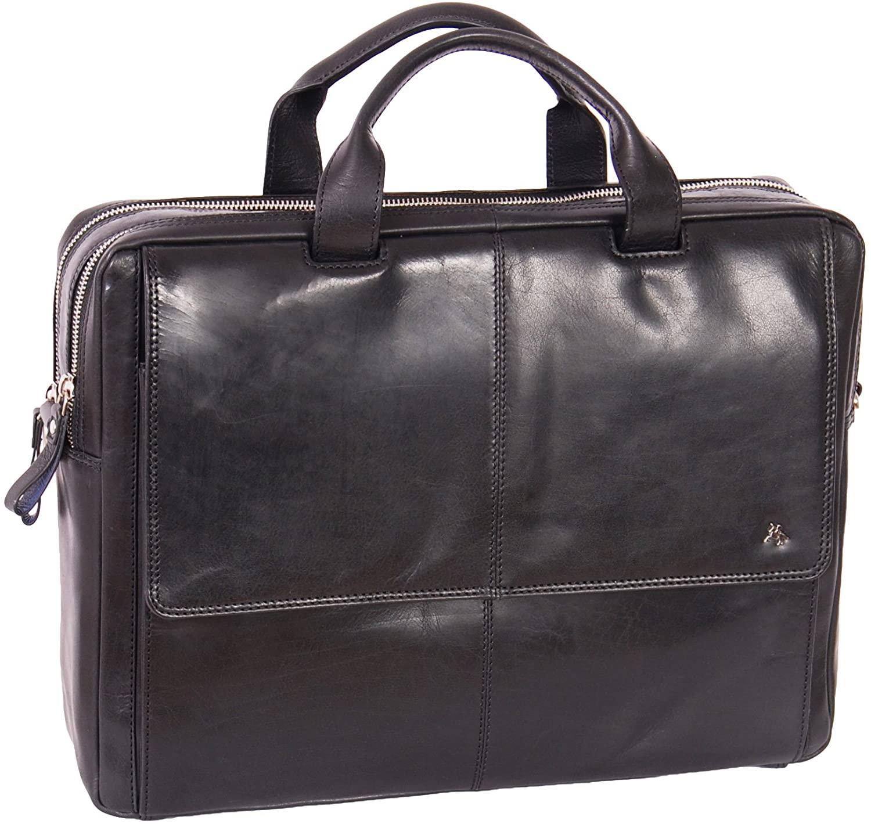 Genuine Leather Briefcase A124 Black Laptop Organiser Work Business Bag