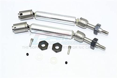 GPM Traxxas Slash 4X4 / Slash 4X4 LCG / Slash 2WD F-150 / Stampede 4X4 VXL Upgrade Parts Stainless Steel 304 + Aluminum Rear CVD Drive Shaft with Steel Wheel Hex - 1Pr Set Silver