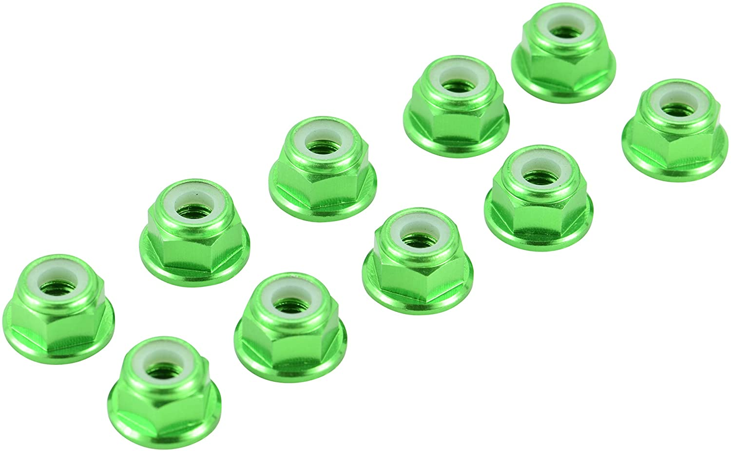 Apex RC Products 4mm Serrated Aluminum Nylon Wheel Nuts Set - 6 Colors to Choose from