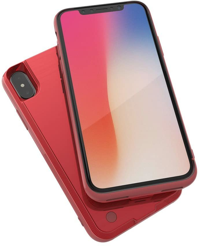 WANCHAUNG Battery Case Ultra-Thin 4000mAh Rechargeable Portable Charging External Battery Pack, Power Bank Backup Charger Case for iPhone X/10Compatible with Wire Headphones (Red)
