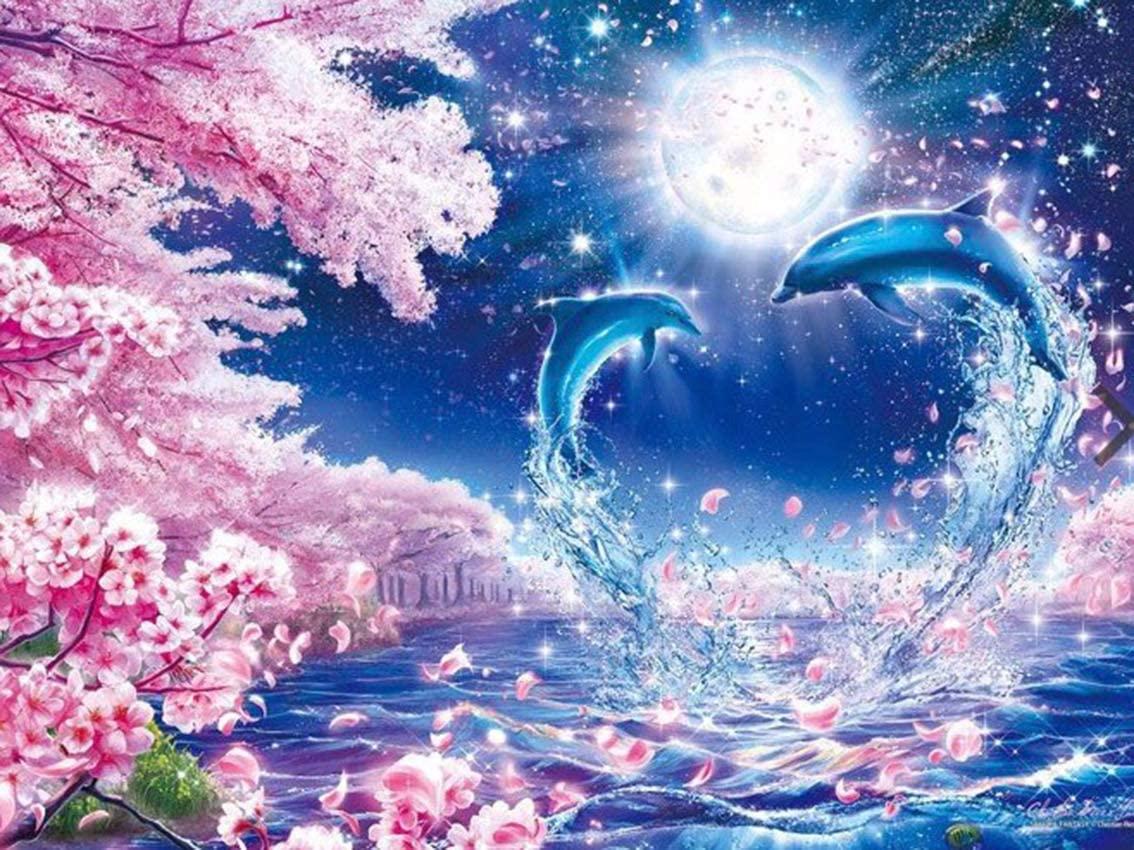 Diy 5D Diamond Sticker Painting Kits Arts Crafts - Flower Dolphin, 11.8X15.7 Inch(Frameless)