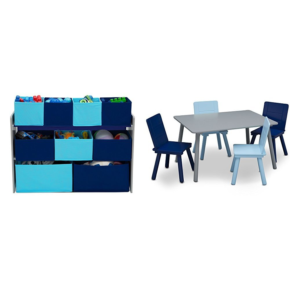 Delta Children Deluxe Multi-Bin Toy Organizer & Kids Table and Chair Set, Grey/Blue