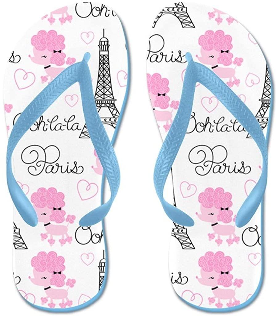 Lplpol Paris Poodles Flip Flops for Kids and Adult Unisex Beach Sandals Pool Shoes Party Slippers