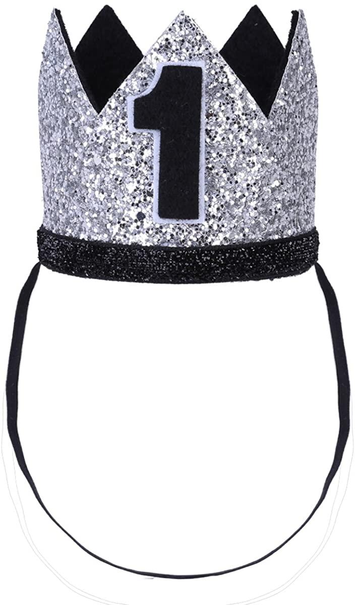 FEESHOW Baby Girls Boy First 1st Birthday Hat Prince Party Sparkle Crown Elastic Headband Cake Smash Photo Prop
