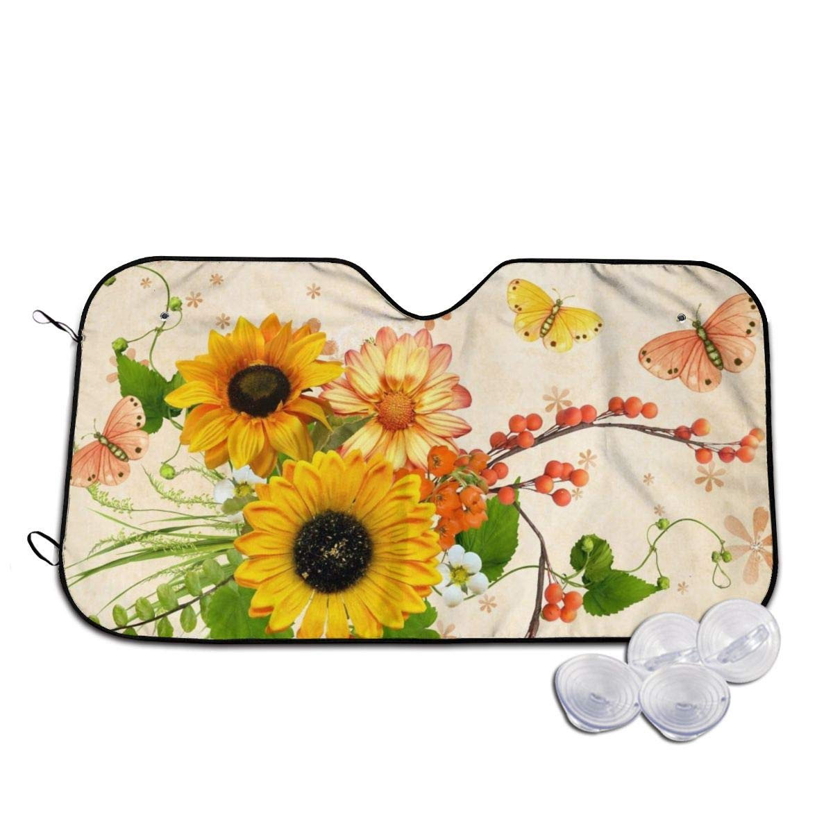 Cute Sunflower and Butterfly Front Windshield Sun Shade Blocks Uv Rays Sun Visor Protector Universal for Car SUV Truck,Easy to Carry