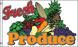 UNK New 3' x 5' Fresh Produce Sign Banner Fresh Produce Farmers Market Banner Sign