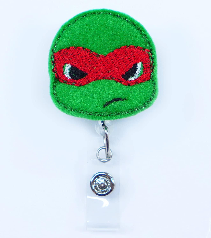 LOVEKITTY Ninja Red Mask Green Turtle Embroidery Retractable ID Badge Reel / Name Badges / ID Badge Holder / Nursing Badge / Doctor Teacher Nurse Great Gift Idea