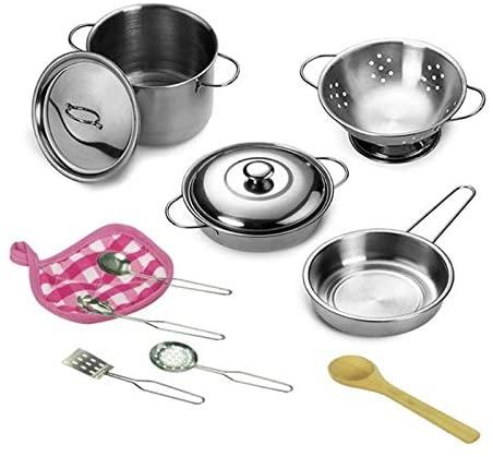 ShopMercimilo 12pcs/Sets Kitchen Stainless Steel Cooking Toys Kit Kids Mini Pretend Play Tool Simulation Cooking Pots Pans Food Kids Babies Gifts White