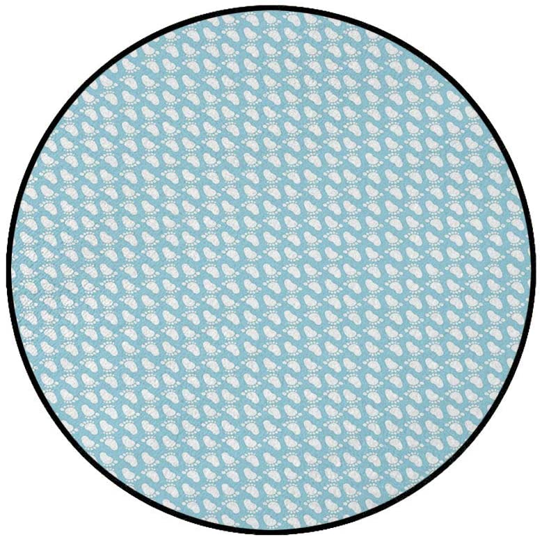 5' Round Area Rugs,Diagonal Footprint Pattern Newborn Children Themed Illustration Happy Moments Super Soft Washable Carpet for Living Room Bedroom Home Children Playroom Nursery, Pale Blue White