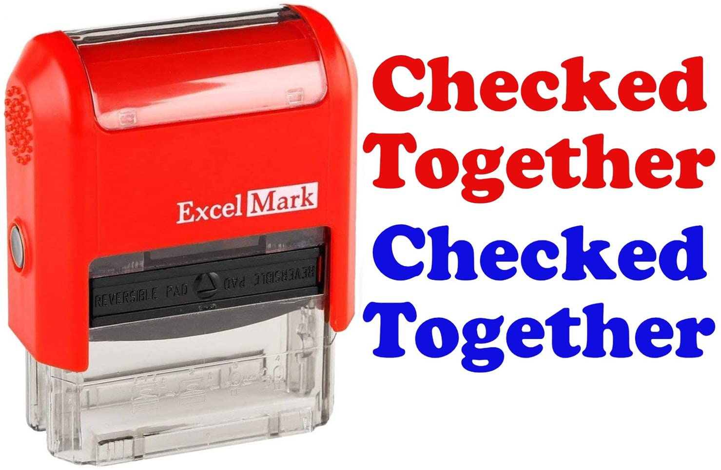 ExcelMark Self-Inking Rubber Teacher Grading Stamp - Checked Together