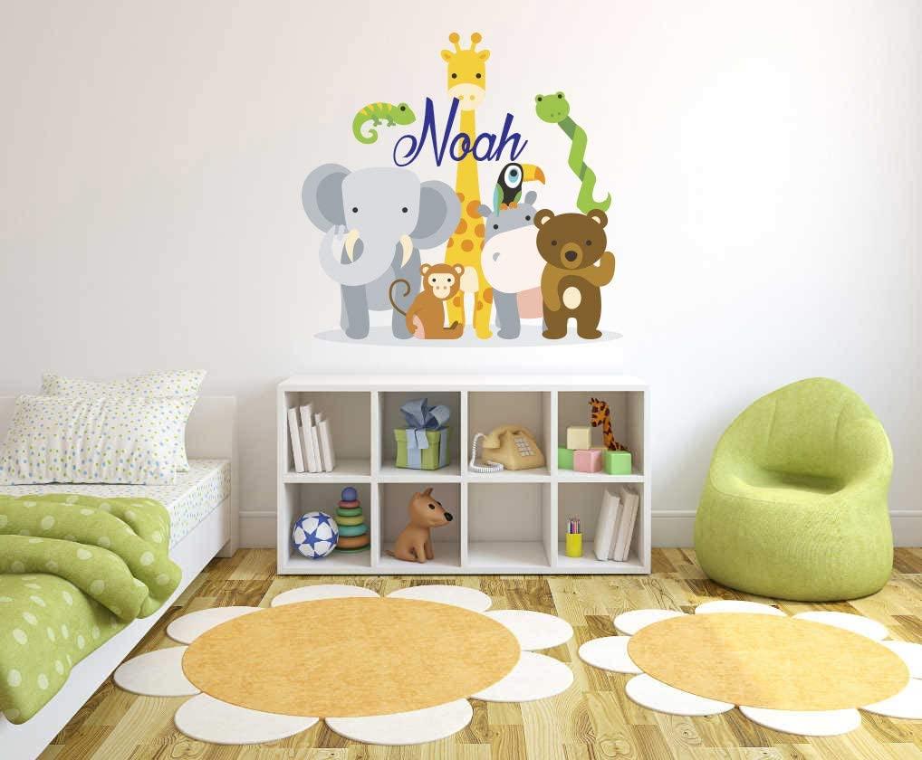 Custom Name Jungle Animals - Baby Safari Zoo Animals Series Theme Wall Decal - Wall Decal for Nursery Bedroom playroom Decoration (Wide 16
