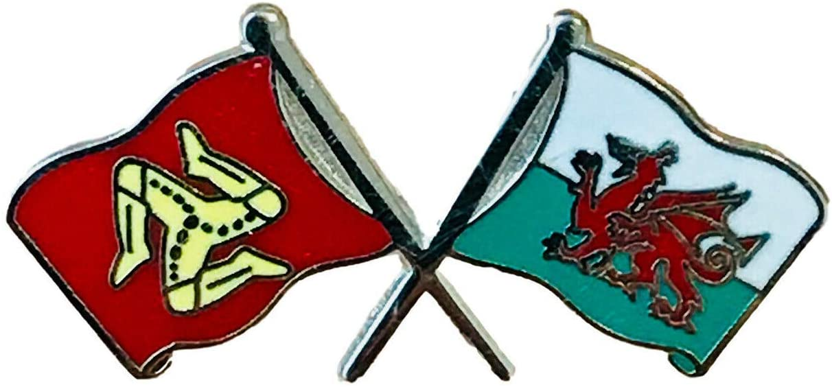 Emblems-Gifts Isle Of Man and Wales Welsh Dragon Friendship Flag Badge