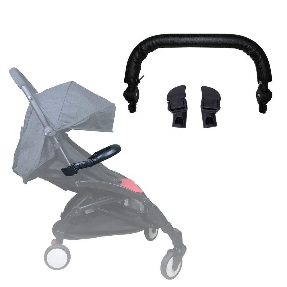 Stroller Bumper Bar LLUFO Handle Bar Armrest Fit for Babyzen YOYO,YOYO+,Yoya Stroller,PU Leather Cover Adjustable -Black