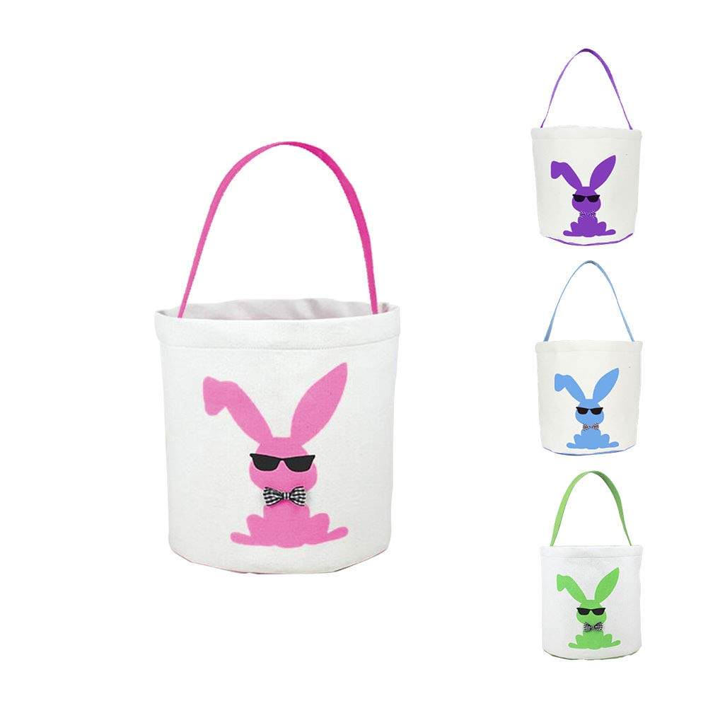 Easter Basket Easter Bag for Kids Easter Hunt Bag Gift Toy Bucket Tote (Pink)