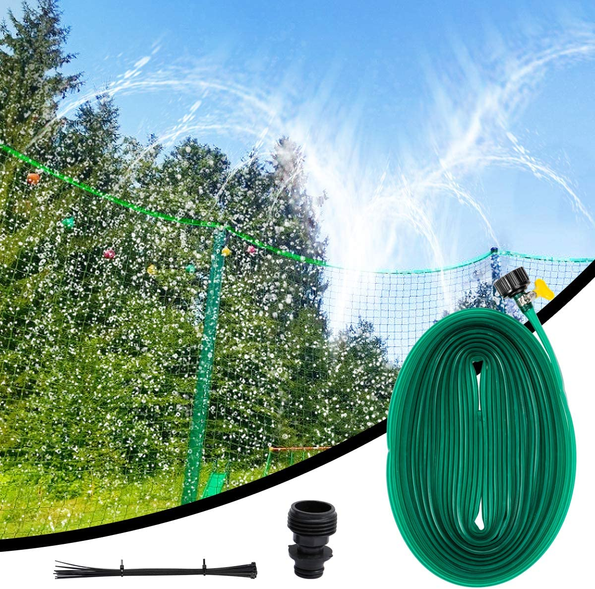 Biubee 49 Feet Long Trampoline Sprinkler- Fun Summer Trampoline Waterpark Heavy Duty Sprinkler Hose Made to Attach On Protective Net Enclosure for Outdoor Water Game Toys Accessories