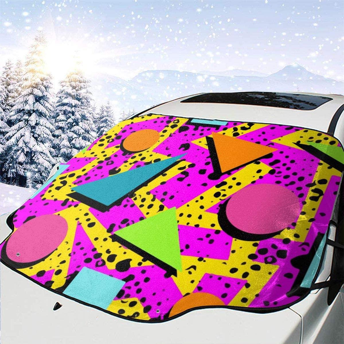 THONFIRE Car Front Window Windshields Winter Sunshade Vintage 80s Memphis Cover Sand Proof Blocks UV Rays Damage Free Visor Protector Automobile Spring Heatshield