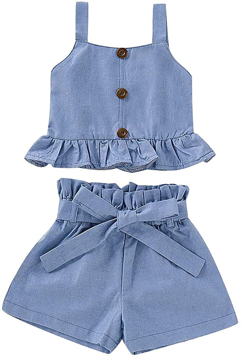 2PCS Toddler Baby Girl Summer Outfits Ruffled Strap Crop Tops+Short Pants Clothes Set