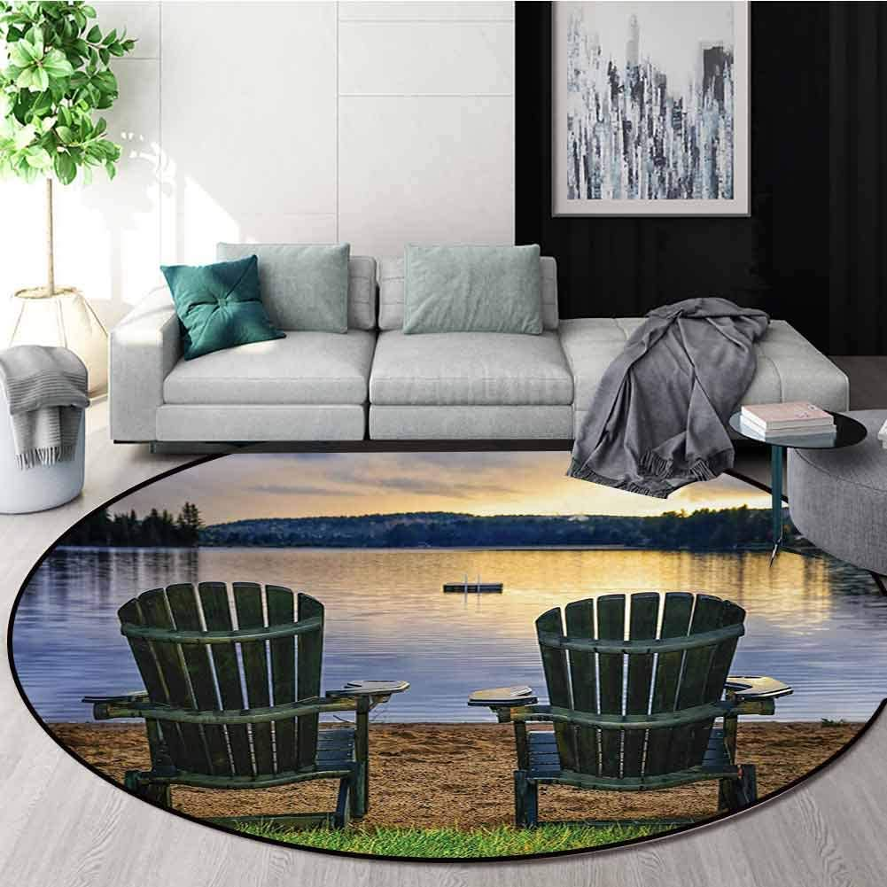 RUGSMAT Seaside Non-Slip Area Rug Pad Round,Two Wooden Chairs On Relaxing Lakeside at Sunset Algonquin Provincial Park Canada Protect Floors While Securing Rug Making Vacuuming,Diameter-71 Inch