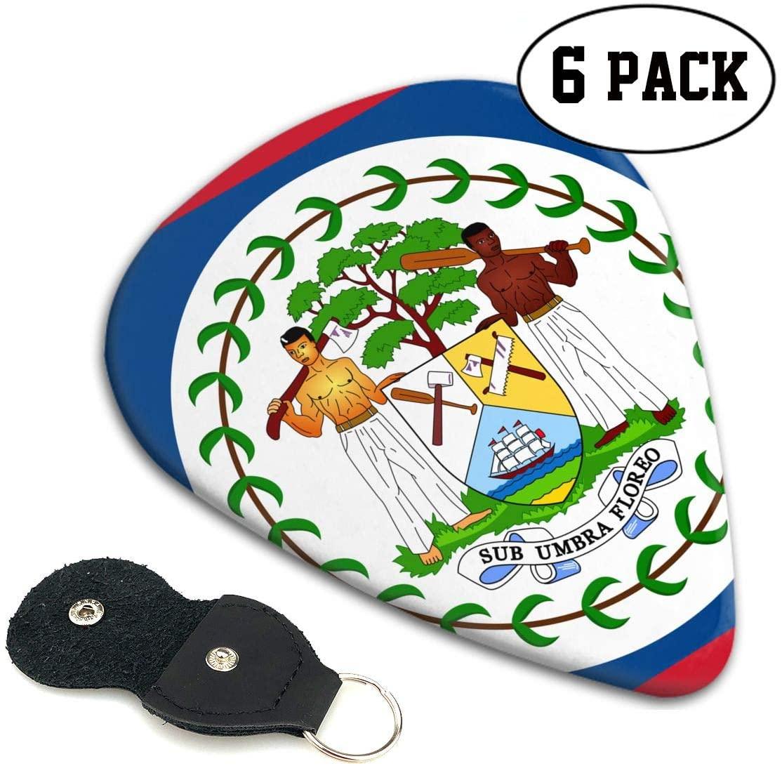 Chion 351 Shape Classic Celluloid Flag of Belize Guitar Picks 6 Pack