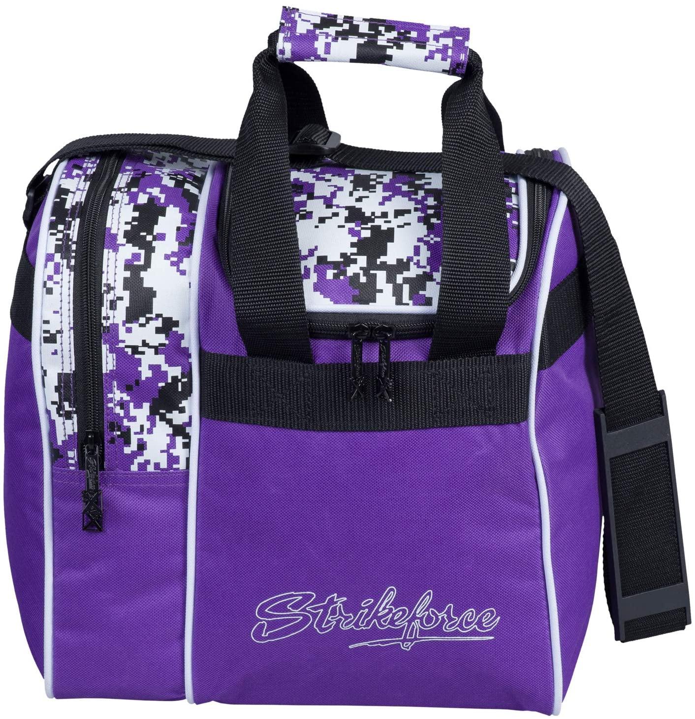 KR Strikeforce Rook Single Bowling Ball Tote Bag, Purple Digi Camo