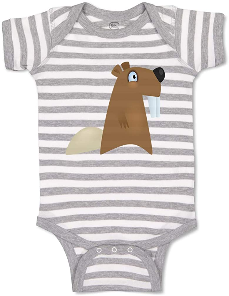 Custom Personalized Boy & Girl Baby Bodysuit Beaver Funny Cotton Baby Clothes