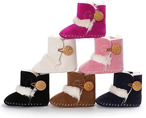 Meckior Prewalker Toddler Snow Boots Soft Anti-Slip Sole Warm Fleece Winter Newborn Crib Shoes for Infant Baby Boys Girls