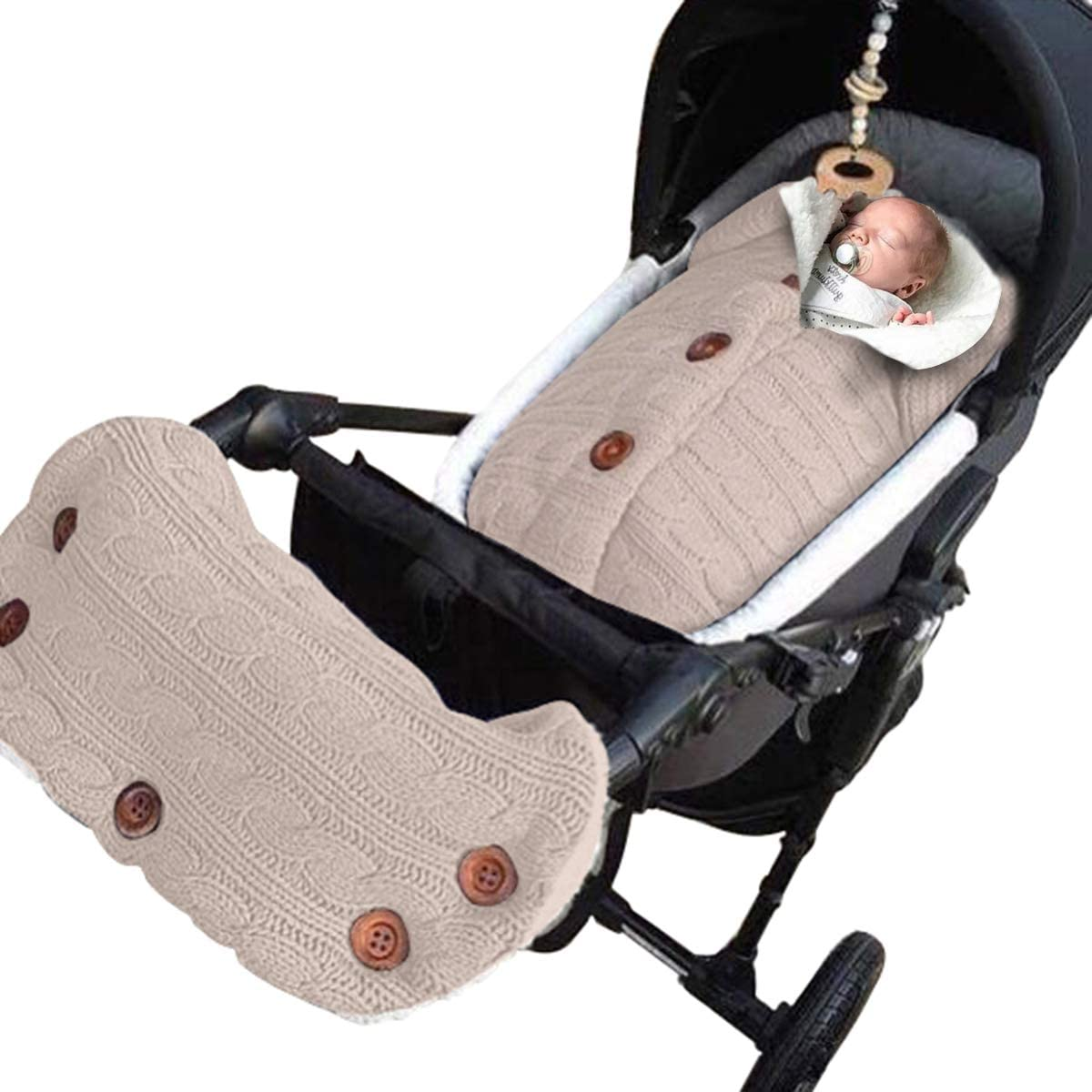 ROSEBEAR Newborn Baby Blanket Knit Warm Swaddle Wrap Sleeping Bag Stroller Warmer Gloves Baby Outdoor Baby Thick Warm Stroller Sleeping Bag