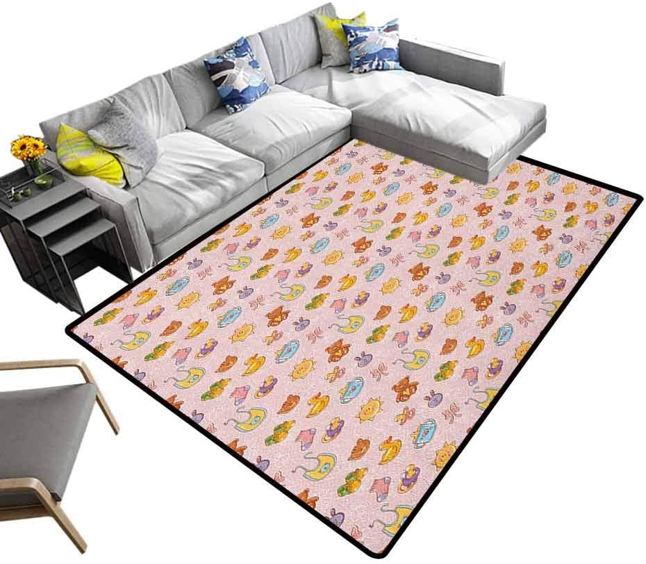 Area Rug Baby, Ultra Soft, Luxury Carpet Infant Toys Teddy Bears Rubber Ducks Pacifiers with Shoes and Socks Doodle Background for Home, Nursery, Bed and Living Room, 4 x 6 Feet