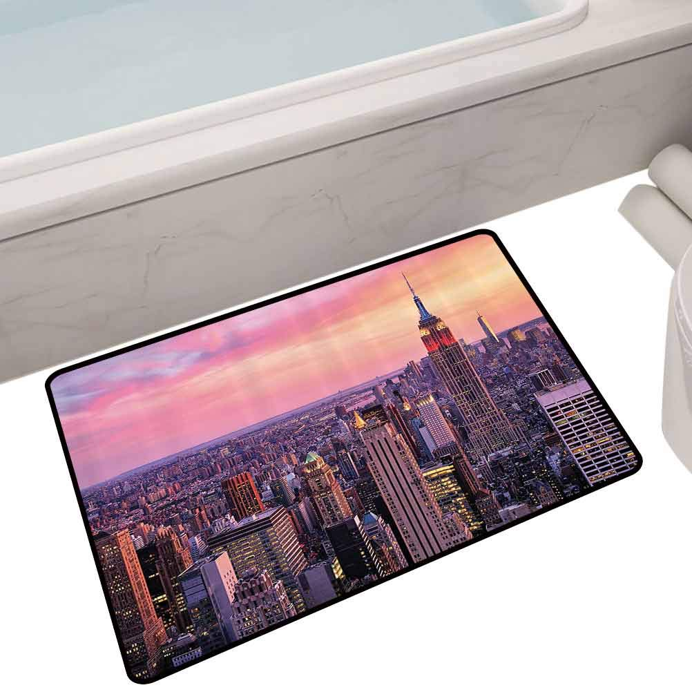 Indoor Polyester Mats New York City Midtown with Empire State Building at Sunset Business Center Rooftop Photo,24