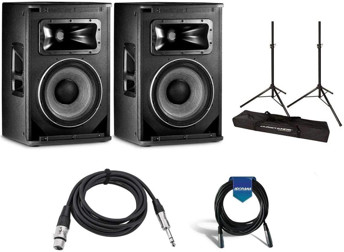 JBL 2 Pack SRX812P 12in 2-Way Bass Reflex Self-Powered PA Speaker System, 48Hz-20kHz, 2000w Peak - US JS-TS50 Tripod-Style Speaker Stand 6' Pair, H∓A TRS M to XLR F Cable 10', 20' XLR Mic Cable