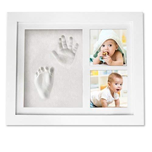 Baby Handprint Keepsake Footprint Photo Frame Kit - Baby Shower Registry Gifts & Nursery Room Decor for Newborn Girl Boy - Cast Clay Imprint of Kids Hand Feet in Wooden Box - A Unique Wall Decoration