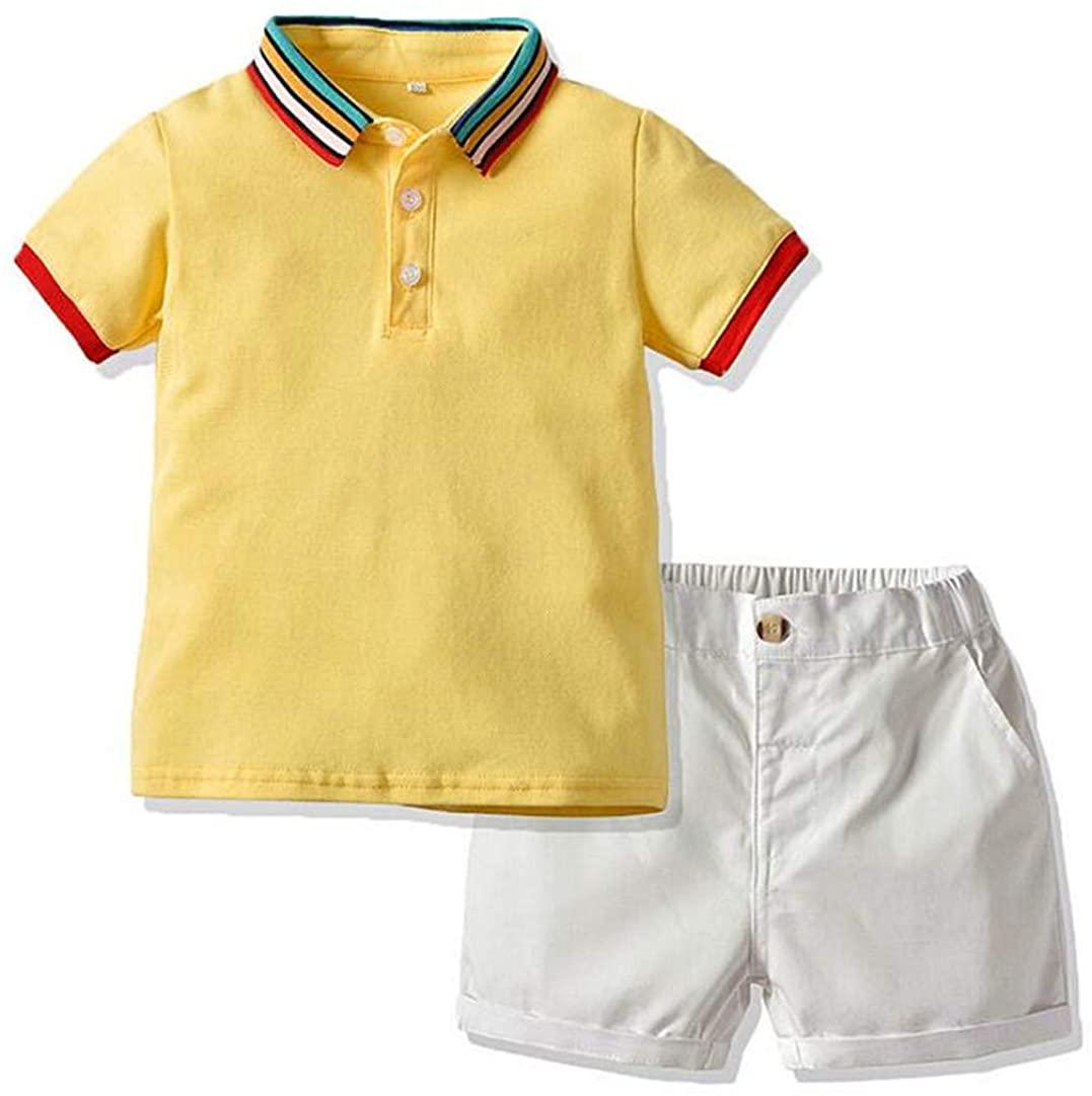 HILEELANG Baby Boy Summer Formal Outfits Shorts Gentleman Yellow Polo Short Sleeve Shirt and Short Pant Set 1T