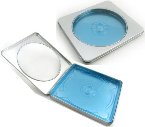Am-Dig Tin DVD/CD Case Square Style Hinged, with Window, Blue Tray, Deep Hub - 50 Pack (Half Carton)