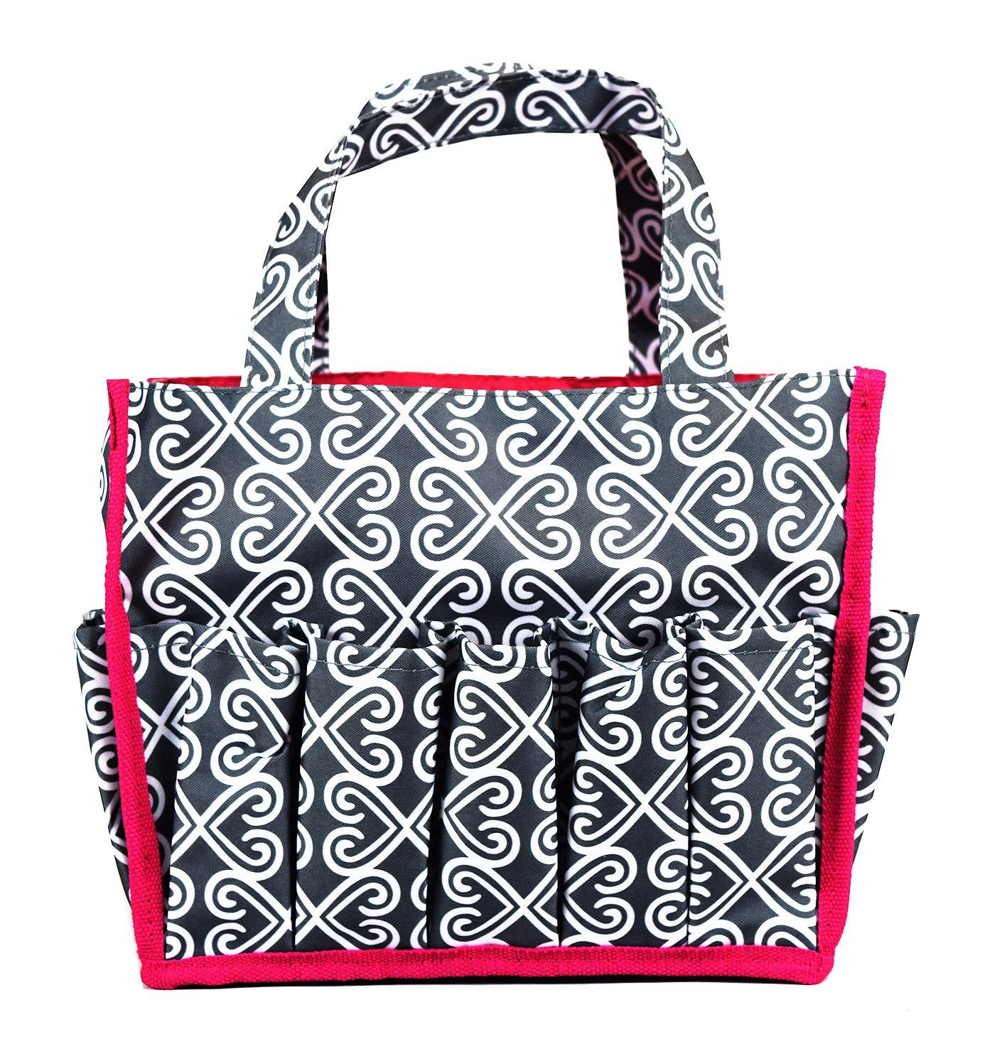 Grey white Heart Baby Diaper Caddy Organizer, Baby Shower Gift Basket For Boys Girls Diaper Tote Bag,