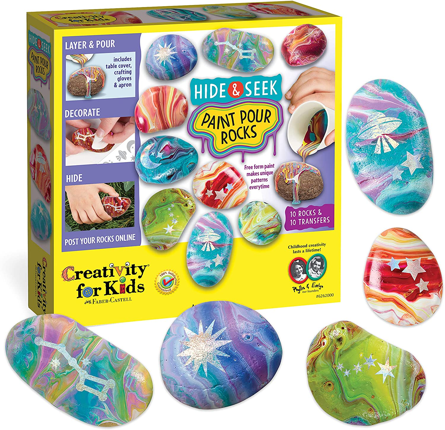 Creativity for Kids Hide and Seek Paint Pour Rock Painting Art Kit - Arts and Craft Activities for Kids