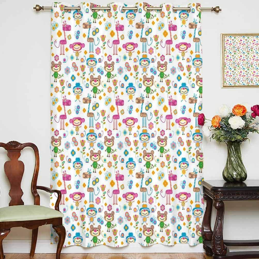 Nursery Wide Blackout Curtains Cute Animals and Flowers Nature Inspired Colorful Cheering Elements Sweet Jungle Thermal Backing Sliding Glass Door Drape ,Single Panel 52x84 inch,for Kid's RoomMulticol