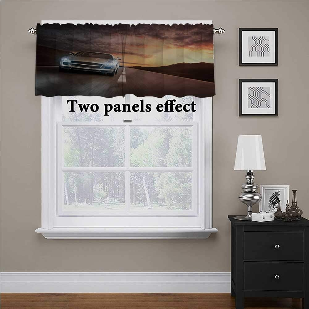 shirlyhome Boys Room Kitchen Window Curtains Car on The Road for Kids Room/Baby Nursery/Dormitory, 60 Inch by 18 Inch 1 Panel