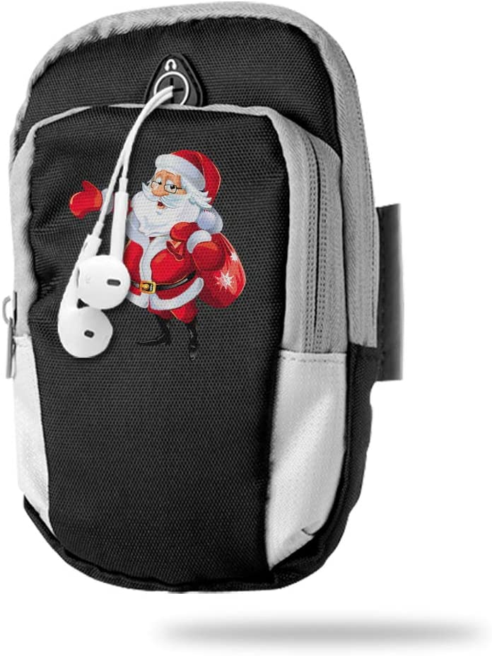 Sports Arm Bag Free Gym Phone Armbands Cell Phone Arm Holder Santa Claus Christmas Pouch Case with Earphone Hole for Running for Men Mini Shoulder Bag Travel Women Kids Handbag