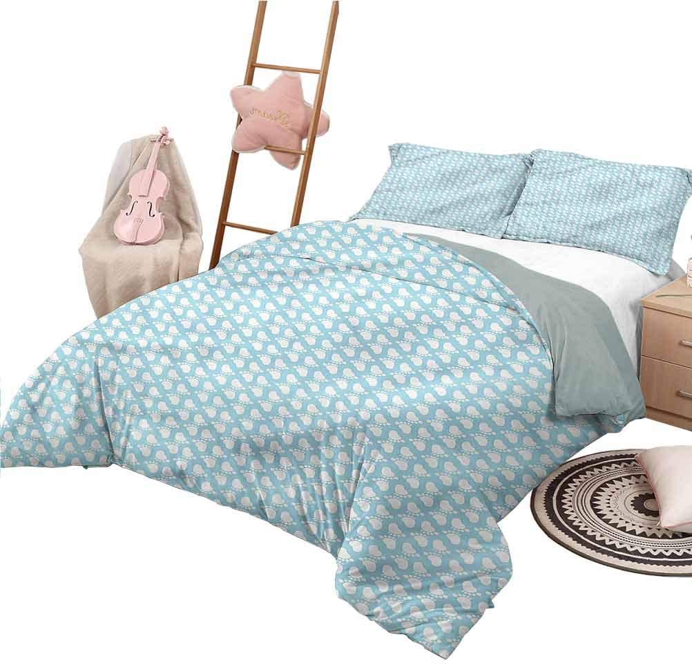 3 Piece Coverlet Set Twin Size Baby Decorative Bedding Set Newborn Footprints Infant