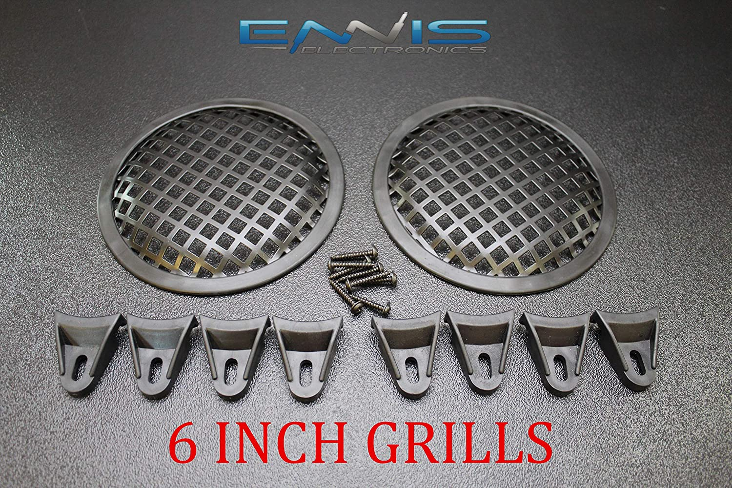 (2) 6 INCH Steel Speaker SUB SUBWOOFER Grill MESH Cover W/Clips Screws GR-6