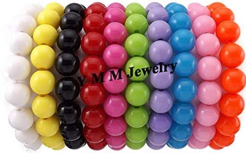 Ochoos Wholesale 24pcs 10mm Acrylic Beaded Bracelets for Kids Fashion Children's Bracelet 10 Colors Option - (Metal Color: Green)
