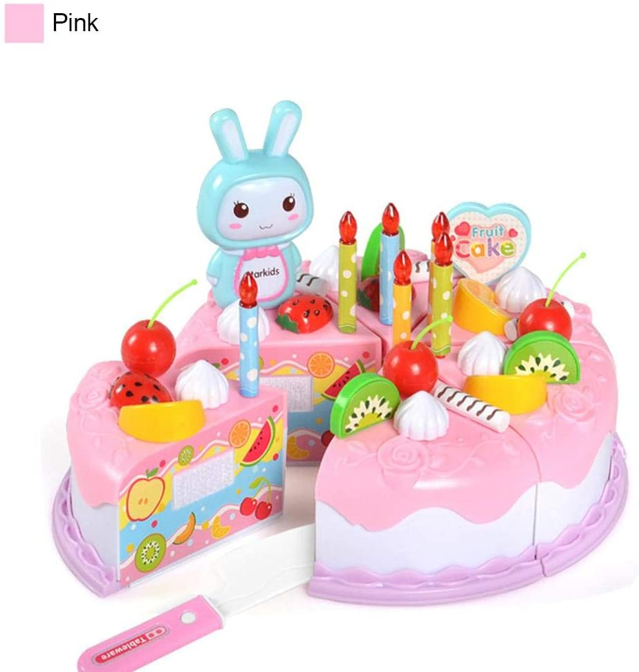 Jungles Pretend Play Food for Kids, DIY 37 PCS Cutting Birthday Party Cake Toys Set, Early Educational Kitchen Toy for Children, Toddlers, Boys & Girls