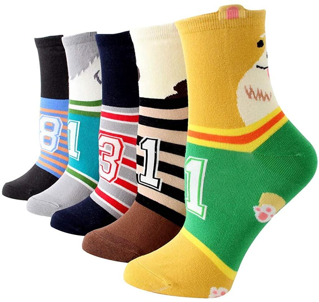 Funny Cotton Crew Socks, Cnebo 5 Pairs Cute Cat Dog Animal Socks Winter Warm Fuzzy Socks Thick Fluffy Ankle Socks Novelty Claw Socks for Women Girls