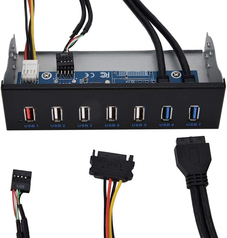 fosa 5.25 Inch Front Panel Optical Drive, Front Panel 7 Port HUB 19PIN to 2 Port U3 + 4 Port U2 Transfer 5Gbps