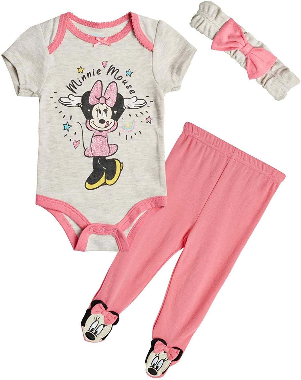 Disney Baby Girls Newborn Minnie Mouse 3 Piece Bodysuit Pant Set