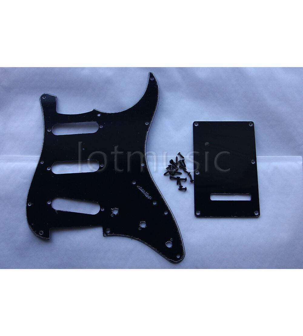 Guitar Parts 1 Set Black Guitar Pickguard Back Plate Tremolo Cover for Fender Strat Parts
