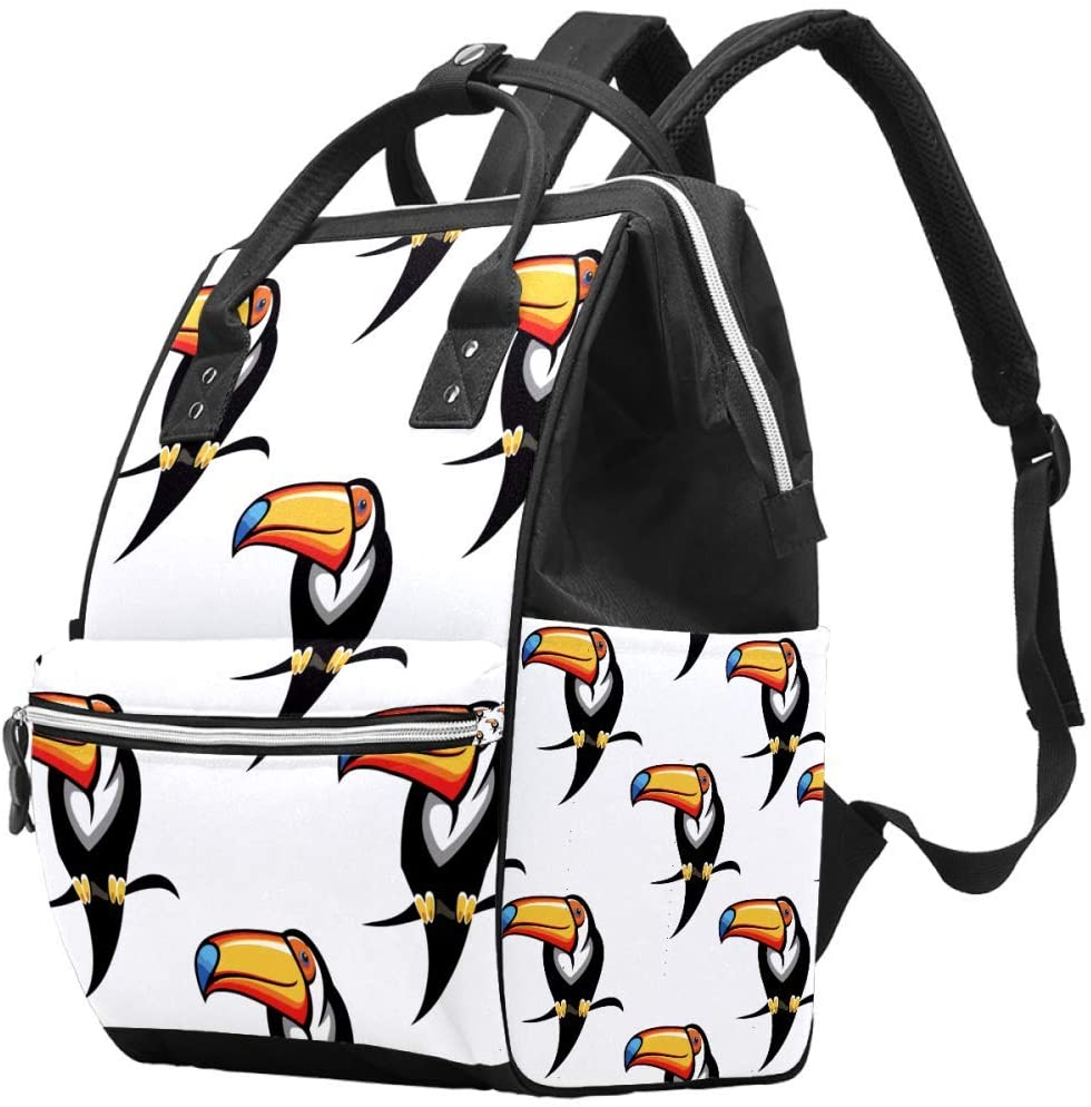 Bird Toucan Diaper Backpack with Water Bottle Bag Changing Bags